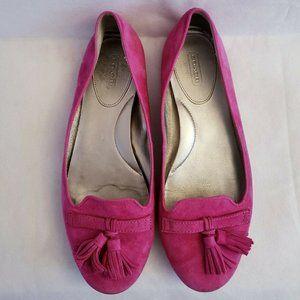 Coach Deedra Tassel Flats Pink Suede Loafers